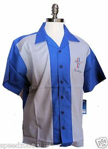 FORD MUSTANG BLUE AND GREY  BUTTON DOWN CAMP SHIRT BY DAVID CAREY
