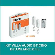 BTICINO KIT CITOFONO AUDIO BIFAMILIARE 2 FILI DA PARETE ART.366821 LINEA 2000