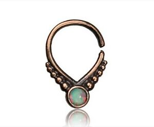 ORNATE 16G ROSE BRASS FAUX WHITE OPAL HANGING SEPTUM 9MM RING NOSE AFGHAN HELIX