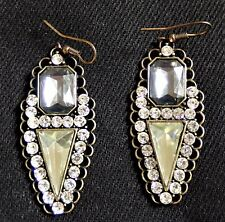 Blue Yellow Clear Crystal Diamantes Art Deco Inspired Drop Pierced Earring