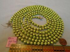 "Christmas Garland Mercury Chartreuse 100"" Long 5/16"" Beads Eb21 Vintage"