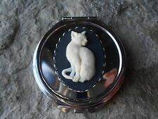 CAT CAMEO ROUND MAKE UP MIRROR, COMPACT MIRROR, UNIQUE, CAT LOVERS GIFT