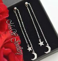 925 Sterling Silver Rhodium Plated Long Dangle Stud Earrings MOON and STAR