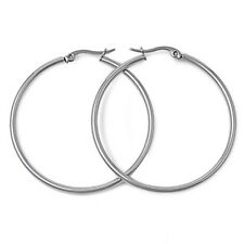 14K White Gold GP Rounded 60mm Hoop Earrings S70