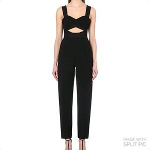 SELF-PORTRAIT Lulu Cut-Out Crepe Jumpsuit - Black - UK 14/US 10