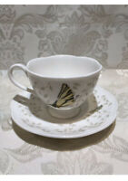 Lenox -BUTTERFLY MEADOW Coffee/Tea Cup and Saucer with Grasshopper & Ladybug