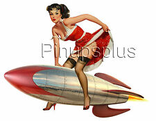 Sexy Retro Rocket Pinup Girl Waterslide Decal Sticker Bomber Nose Art S870