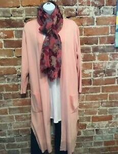 Linea Louis Dell'Olio Pink Whisper Long Cardigan Sweater Topper New