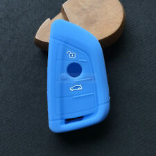 Fit BMW X1 X3 X5 3 Buttons Remote Smart Key Fob Silicone Skin Case Cover Blue