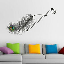 57153 | Wall Stickers Krishna Flute and Peacock Feather