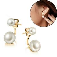 Women 18K Gold Plated Double Sided Faux Pearl Ear Stud Earrings Mother's Gift WE