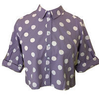 Womens TOPSHOP Light Purple Spotty Roll Sleeve Crop Top - UK Size 6 8 10 12