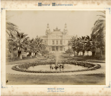 France, Monte Carlo, la façade du casino  vintage albumen print.  Tirage album
