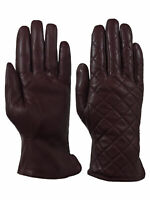 Giromy Samoni Womens Warm Winter Leather Quilted Dress Driving Gloves Brown