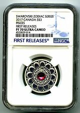 2017 CANADA $3 SILVER PROOF NGC PF70 PISCES ZODIAC SERIES MADE W CRYSTAL RARE