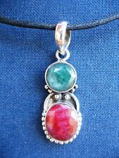 Handmade Solid 925 Sterling Silver & Ruby and Emerald Pendant Necklace 925023