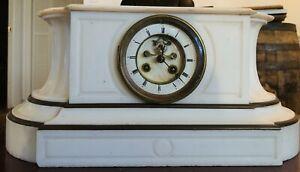 Vintage white marble mantle clock