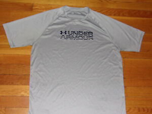 UNDER ARMOUR HEATGEAR GRAY SHORT SLEEVE LOOSE JERSEY MENS LARGE EXCELLENT