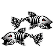 2pcs Skeleton Fish Bones PET Vinyl Decal Sticker Kayak Fishing Boat Car Graphics
