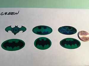 Die Cut, Custom Batman Decals For 12 Inch Figures. 1/6 Scale Set Of 6, Green