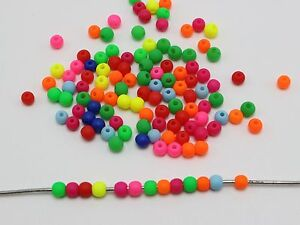 5000 Mixed Frost Neon Color Round Beads 4mm Smooth ball Mini Spacer Beads