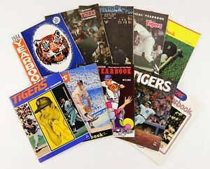 Lot of 10 1964-1975 Detroit Tigers Baseball Yearbooks