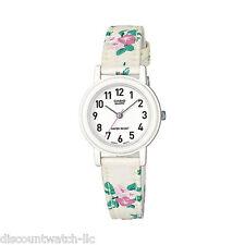 Casio Ladies LQ139LB-7B2 White FLORAL DESIGN Leather Casual Watch NEW LQ-139
