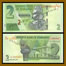 Zimbabwe 2 Dollars, 2016/2017 P-New Bond Note New Design Unc