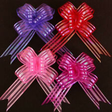 10Pcs Hot Organza Yarn Pull Bows Ribbons Wedding Party Flower Decor Gift Wraps