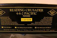 WEAVER 'O' TRAINS- 1089LP READING CRUSADER /G1229L- W/ALUM. PASSENGER SET- NEW