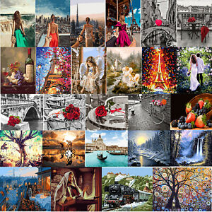 Multi-styles Painting By Numbers Kit DIY Canvas Oil Wall Art Picture Wall Decor