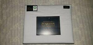 Pendleton Organic Coton Percale KING SheetSet Antarctica LightPearlGrey;NIP$189
