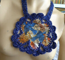 HANDMADE  CROCHETED STATEMENT NECKLACE+PAINTED LEATHER  BLUE SILVER ACRYLIC