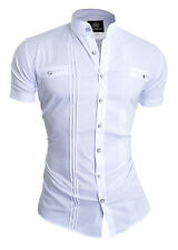 D&R Mens Summer Shirt Short Sleeve White Grandad Collar Slim Fit UK Size Holiday