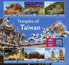 Mayreau Grenadines St Vincent 2015 MNH Temples of Taiwan Taipei Stamp Expo 6v MS