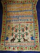 1864 Sampler, Alphabet And Motif By Elenor Price