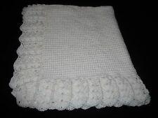 NEW Handmade Crochet Baby Blanket Afghan (White)