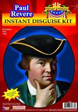 Paul Revere Accessory Kit Brown Colonial Style Wig & Black Cloth Tricorn Hat OS