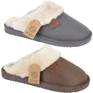 Womens Ladies Cosy Faux Suede Slides Home Sheepskin Snugg Backless Mule Slippers