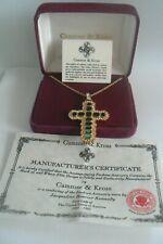 Jackie Kennedy Aura Faux Emerald Cross Necklace Camrose & Kross New Boxed Unworn