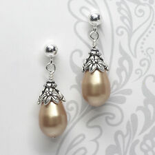 Crystal Pearl Stud Earrings, Post, Dangle, Champagne, Bronze, SS