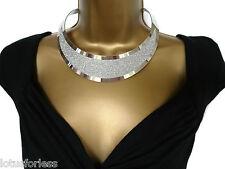 Sexy Collar Gargantilla Distintivo Collar de plata brillante con cadena de extensión