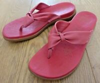 Clarks Active Air Ladies Floral Pattern Red Leather Slip on Sandals Size UK 7