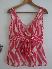 Pink & Cream Pattern Monsoon V Neck 100% Silk Sleeveless Top in Size 12 - NWOT