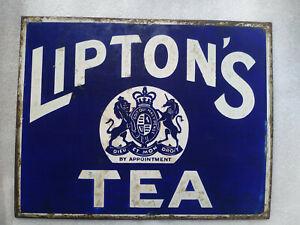 VINTAGE PORCELAIN ENAMEL AD SIGN LIPTON'S TEA LONDON BRITISH TREAD MARK RARE1930