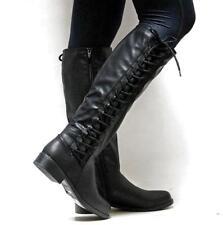 Womens Ladies Platform Lace Up Zipper Biker Flat Knee High Boots Riding Shoes