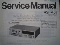 TECHNICS RS-M51 Cassette Tape Deck Service manual wiring parts diagram RS-M24