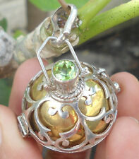 925 Sterling Silver-Harmony Ball Locket Pendant With Peridot (Gold Brass)Large