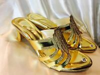Size 7 Ladies Indian Bollywood Bridal Shoes Heels Sandals Chappals Gold J5
