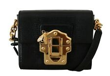 DOLCE & GABBANA Bag Purse Black Leather LUCIA Shoulder Messenger Borse